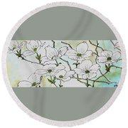 Dogwood Blossoms Round Beach Towel