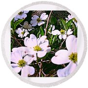 Dogwood Blossoms Pair Up Round Beach Towel