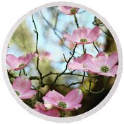 Dogwood Flowers Pink Dogwood Tree Landscape 9 Giclee Art Prints Baslee Troutman Round Beach Towel