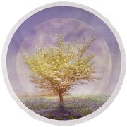 Dogwood In The Lavender Mist Round Beach Towel
