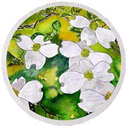 Dogwood Tree Flowers Round Beach Towel