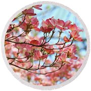 Dogwood Tree Landscape Pink Dogwood Flowers Art Round Beach Towel
