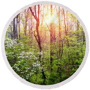 Dogwoods In The Forest Round Beach Towel
