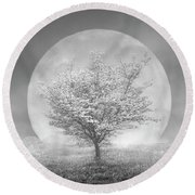 Dogwoods In The Moon Black And White Round Beach Towel