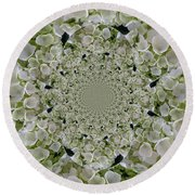 Doily Of Flowers Round Beach Towel