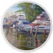 Docks At The Shores  Round Beach Towel