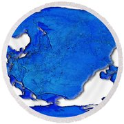 Dolphin World Map Round Beach Towel
