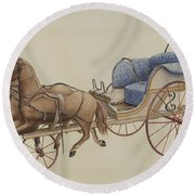 Doll Carriage Round Beach Towel