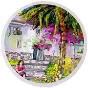 Doll House In Turre Round Beach Towel