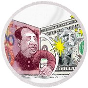 Dollar Vs Yen Round Beach Towel