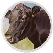 Dolly The Angus Cow Round Beach Towel