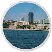 Dolmabahce Palace On The Bosphorus Round Beach Towel