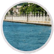 Dolmabahce Palace Tower And Fence Round Beach Towel