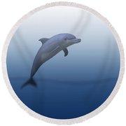 Dolphin In Ocean Blue Round Beach Towel