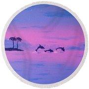 Dolphin Island Round Beach Towel