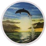Dolphin Jump Round Beach Towel