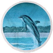 Dolphin Mural Round Beach Towel