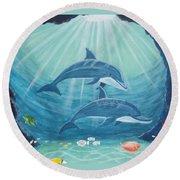 Dolphin Play Round Beach Towel