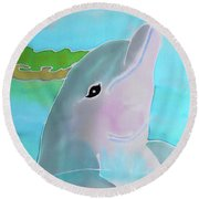 Dolphin Smile Round Beach Towel