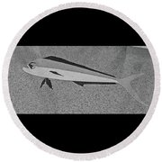 Dolphinfish In Grayscale Round Beach Towel
