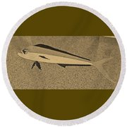 Dolphinfish In Sepia Tones Round Beach Towel