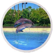 Dolphins Dance Round Beach Towel