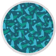 Dolphins In Blue  Round Beach Towel