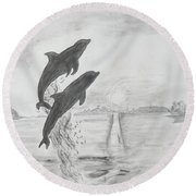 Dolphins Of The Sea Round Beach Towel
