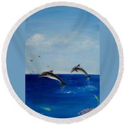 Dolphins Playing Round Beach Towel