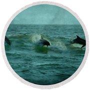 Dolphins Round Beach Towel by Sandy Keeton