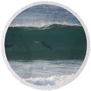 Dolphins Surfing The Waves Round Beach Towel