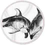 Dolphins Togeter Round Beach Towel