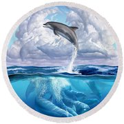 Dolphonic Symphony Round Beach Towel