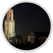 Dom Tower And Dom Church In Utrecht In The Evening 2 Round Beach Towel