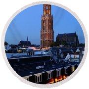 Dom Tower In Utrecht At Dusk 24 Round Beach Towel