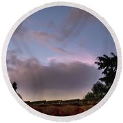 Dome And Clouds - Guatemala Iv Round Beach Towel