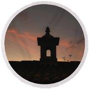 Dome And Sunset - Antigua Guatemala Round Beach Towel