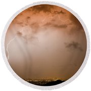 Dome Of Lightning Round Beach Towel