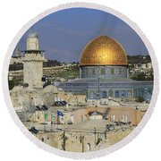 Dome Of The Rock Jerusalem Israel Round Beach Towel