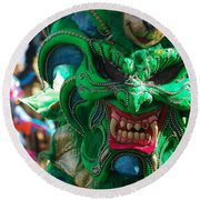 Dominican Republic Carnival Parade Green Devil Mask Round Beach Towel