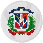 Dominican Republic Coat Of Arms Round Beach Towel