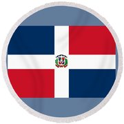 Dominican Republic Flag Round Beach Towel