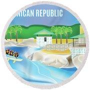 Dominican Republic Horizontal Scene Round Beach Towel