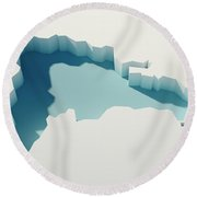 Dominican Republic Simple Intrusion Map 3d Render Round Beach Towel