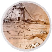 Don Quijote Windmills 06 Round Beach Towel