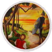 Don Quixote And Sancho Round Beach Towel