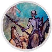 Don Quixote With Windmill Round Beach Towel