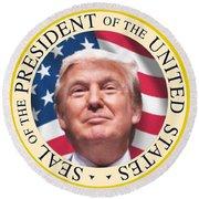 Donald Trump Us President United States Seal  Round Beach Towel