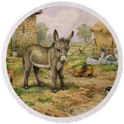 Donkey And Farmyard Fowl  Round Beach Towel