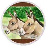 Donkey Duo Round Beach Towel